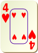 """Изображение игральной карты c рамкой """"Heart 4"""" (Heart 4)"""