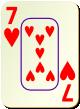 """Изображение игральной карты c рамкой """"Heart 7"""" (Heart 7)"""
