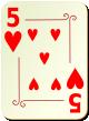"""Изображение игральной карты с орнаментом """"Heart 5"""" (Heart 5)"""