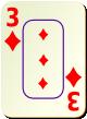 """Изображение игральной карты c рамкой """"Diamond 3"""" (Diamond 3)"""