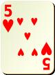"""Изображение игральной карты без специфики """"Heart 5"""" (Heart 5)"""